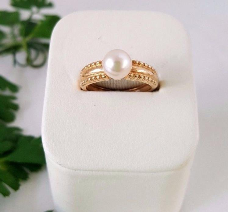 14k Yellow Gold 7mm AKOYA Pearl Solitaire Ring Estate Size 7 lovely