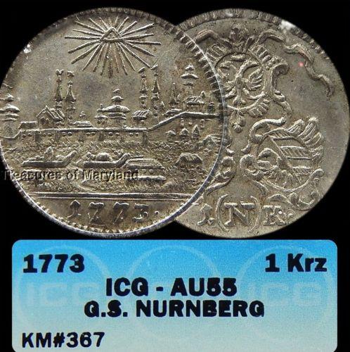 ICG AU55! 1773 Nurnberg Germany Silver 1 Kreuzer! sku #7001