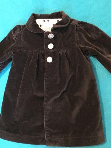 Cute Carter's Black Velour Girls Lined Baby Toddler Coat 9 months Jacket