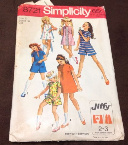 NICE SIMPLICITY GIRLS SIZE 12 DRESS/ROMPER PATTERN FROM 1970