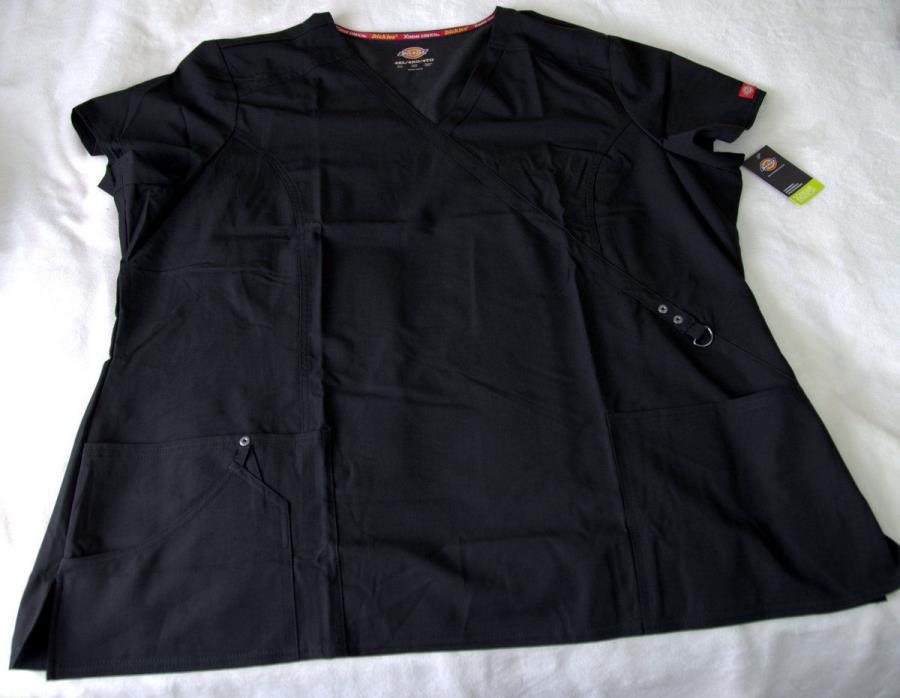 Black Dickies Xtreme Stretch Mock Wrap Scrub Top 85956 BLKZ 4XL