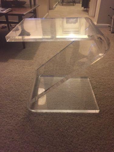 Vintage John Mascheroni Lucite Z Form Side End Table c.1970 Mid Century Modern