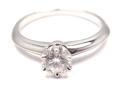 TIFFANY & Co. PLATINUM DIAMOND 0.31ct ENGAGEMENT RING + Tiffany certificate