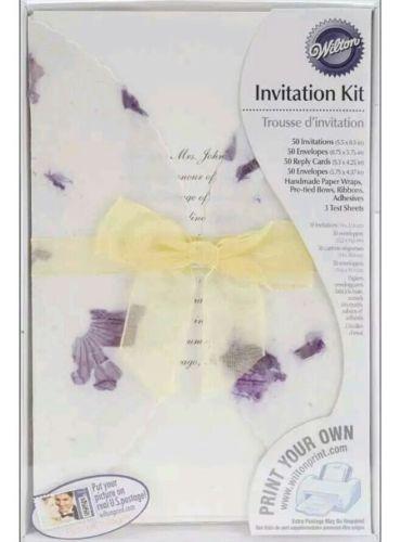 NEW Wilton DIY Print Your Own Lavender Floral Wedding Invitation Kit Set of 50