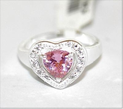 New Sterling Silver Pink Crystal Pave Heart Ring / Size 7