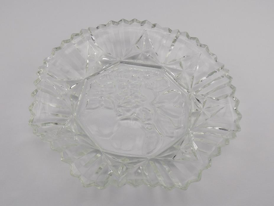 Heavy Clear Pressed Glass Serving Tray Platter