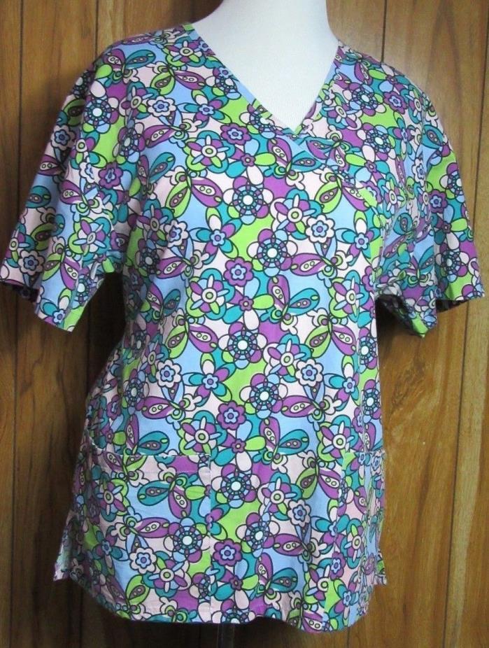 Scrub Top Size Large Floral Multi-color Short Sleeve V-Neck Carols (M1-21)