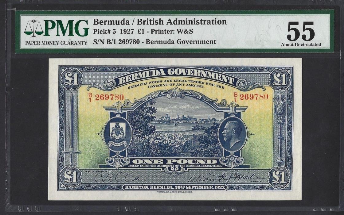 Bermuda P-5 1927 PMG AU 55 1 Pound Very RARE