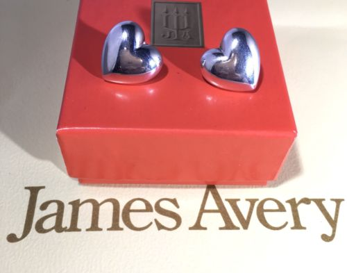 """RETIRED James Avery Sterling Silver Puff Heart Earrings 4g Stamped """"STER"""""""