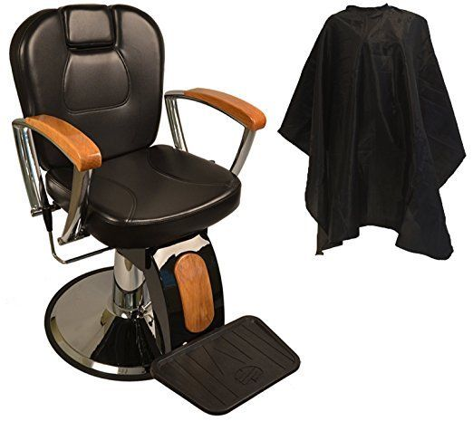 Comfortable Reclining Hydraulic Barber Chair Oak Wood Armrests Sturdy Effective