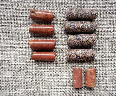 Antique African Trade Bead Lot - Venetian Millefiori Terracotta Glass Tube Beads