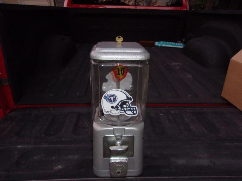 TENNESSEE TITANS VINTAGE ACORN 10 CENT GUMBALL MACHINE GLASS GLOBE VERY NICE