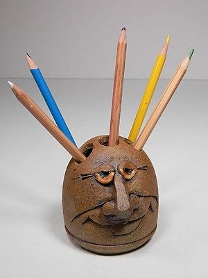 Made-in-the-USA Whimsical Stoneware PenHead Pen and Pencil Holder by The Potters