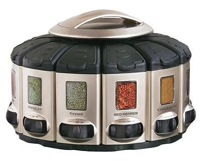 KitchenArt Pro Auto-Measure Spice Carousel, Stainless Steel Satin Without Spices