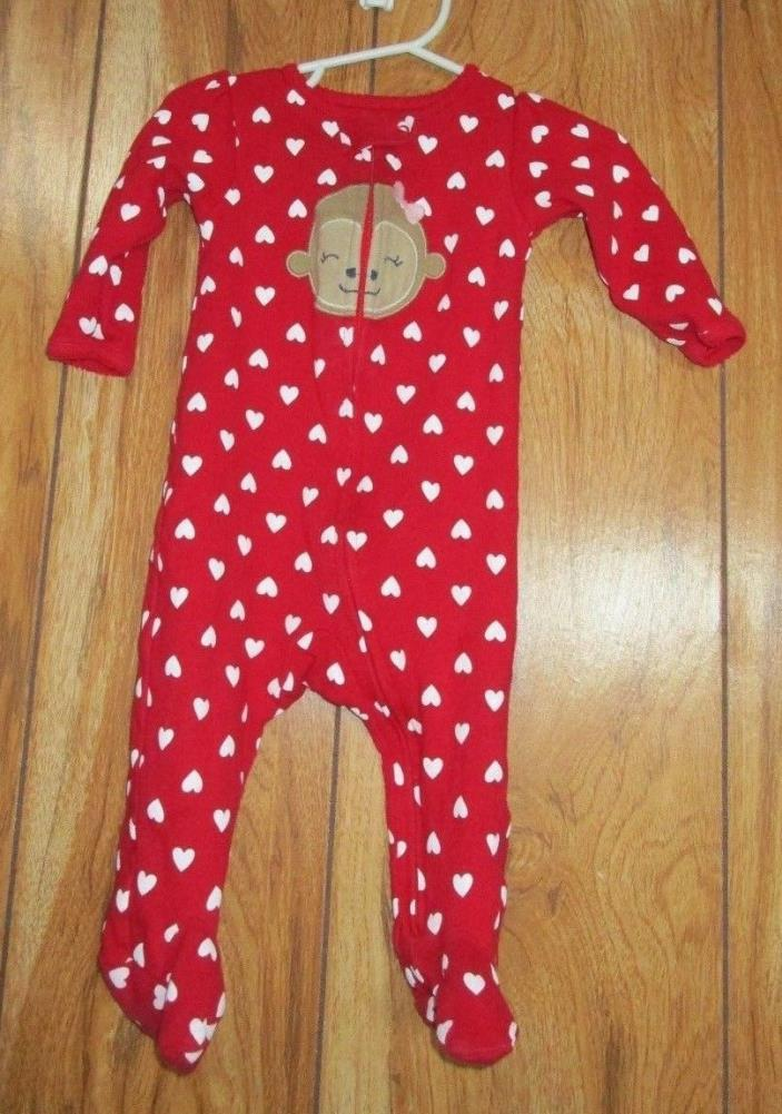 Just One You Carters Sleeper Size 9M Monkey Red White Hearts (H5-24)