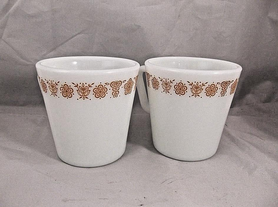 Corelle Butterfly GOLD 2 Coffee Mugs Cups  Corning Pyrex 3 1/2