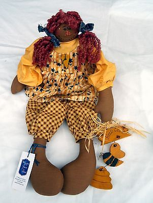 Made-in-the-USA One-of-a-Kind Soft Sculpture Folk Art African Raggedy Ann Doll