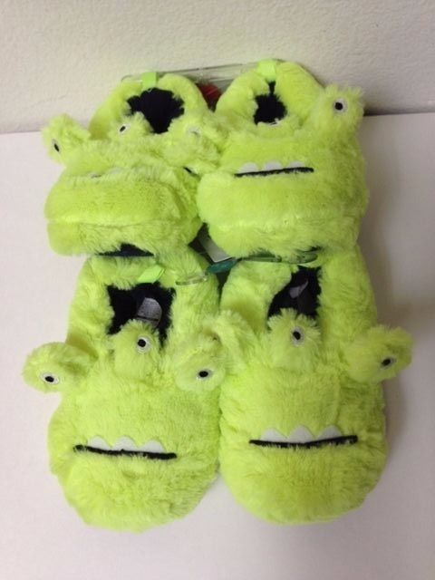 Carters Carter's Toddler Green Monster Fluffy Medium Slippers 7/8 New Authentic