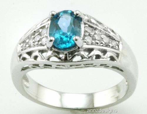0.16ct Diamond & Blue Topaz Sterling Silver Ring
