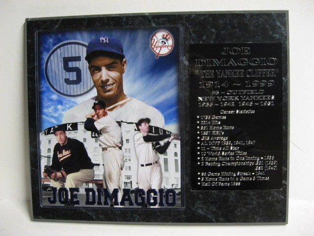 Joe Dimaggio New York Yankees plaque - New Lower Pricing!!