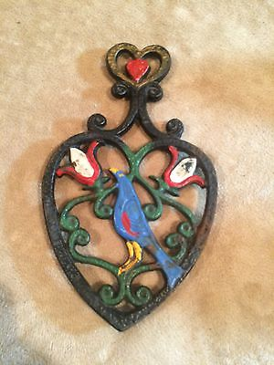 Vintage~Cast Iron~Trivet~Hot Plate~Bird~Heart~Painted~Collectible~Decor~Art~WOW!