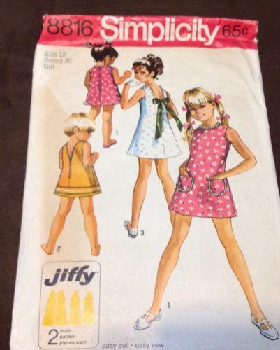 CUTE GIRLS SIMPLICITY DRESS  PATTERN FROM 1970