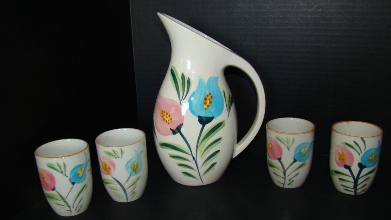 Hand Painted Ceramic Pitcher And 4 Glasses Juice Set