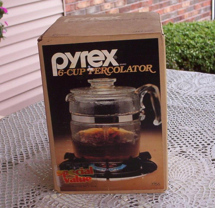 NEW FACTORY SEALED PYREX FLAMEWARE 6 CUP GLASS COFFEE POT PERCOLATOR-7756-IN BOX