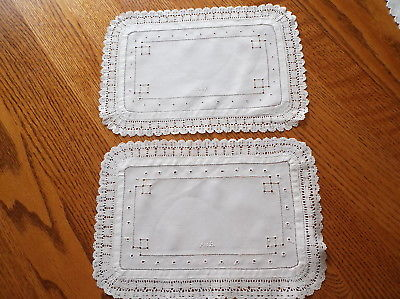 Set of Two Rectangular White Doilies with Beautiful Edging