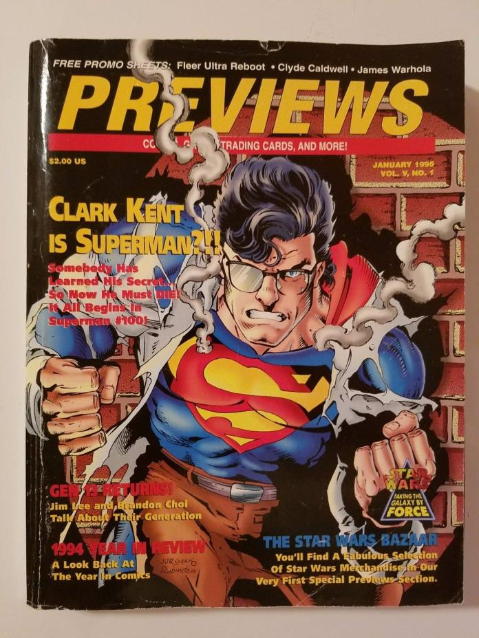 VINTAGE PREVIEWS COMIC CATALOG VOL V ISSUE 1 JAN 1995 W/FLEER ULTRA REBOOT CARDS