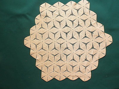Antique Ecru Crocheted Six Sided Doily