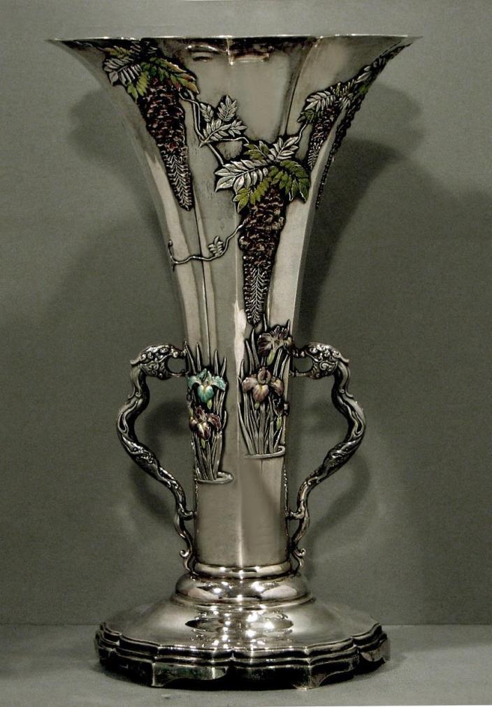 Japanese Sterling Silver Vase       CLOISONNE ENAMEL         * SANJU  SAKU *