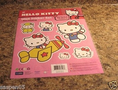 HELLO KITTY Wall Sticker Set Decorating 6 Piece NEW