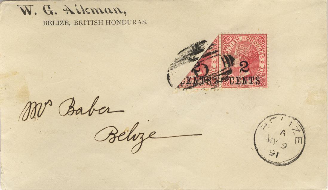 Belize bisect, 1888, local usage on envelope, Cat SG 37, Mi 21 ~ RARE!