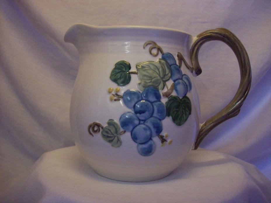 Stoneware Embossed Grapes and Leaves with Vine Handle Pitcher