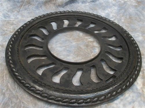 Cast Iron Round Stove Pipe Chimney Flue Cover Collar Ornate Grate Heat Ring b