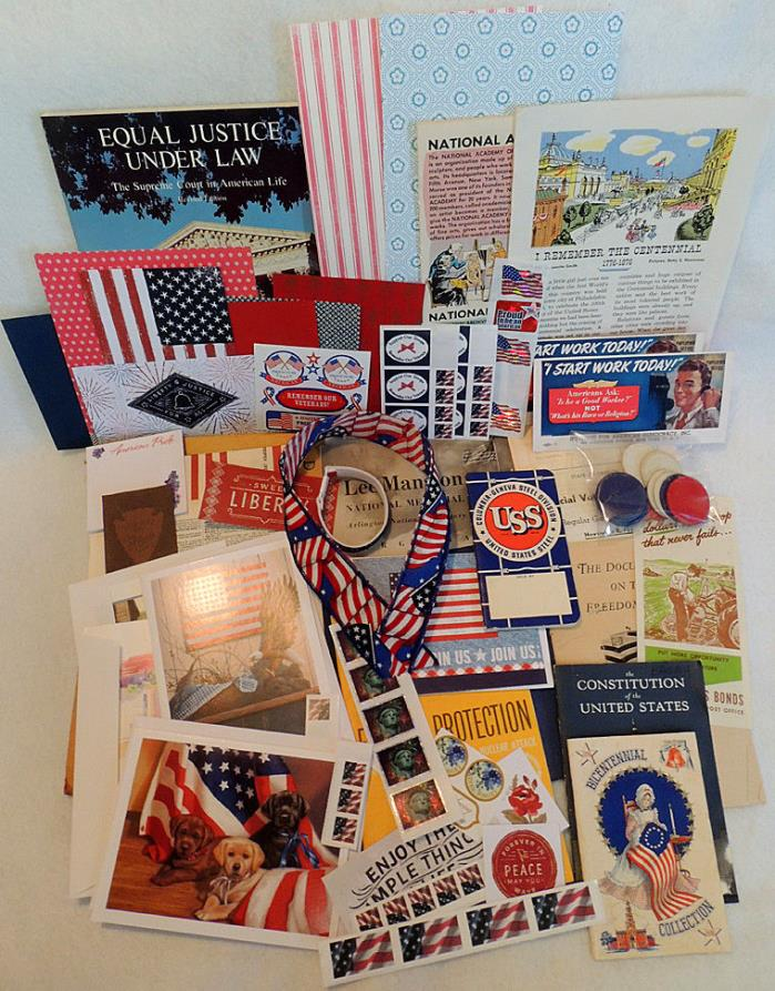 Large Vintage Ephemera Paper Lot Patriotic America Scrap Book Art Journal  (#1)