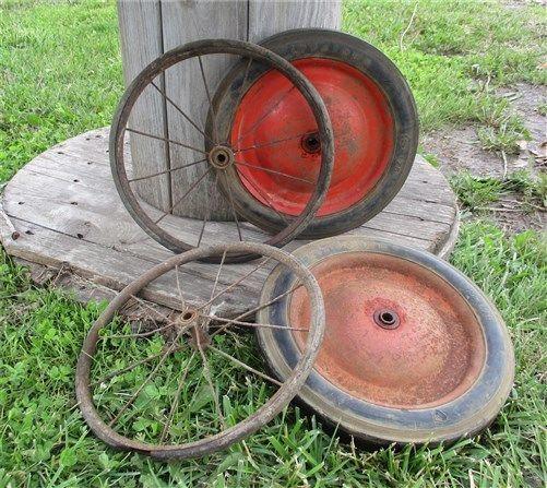4 Vintage Baby Buggy Wheels Pedal Cart Garden Cart Mower Pumpkin Wagon a11