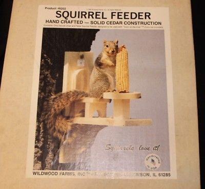 NEW WILDWOOD Squirrel Feeder Hand Crafted WEATHER RESISTANT WOOD, USA