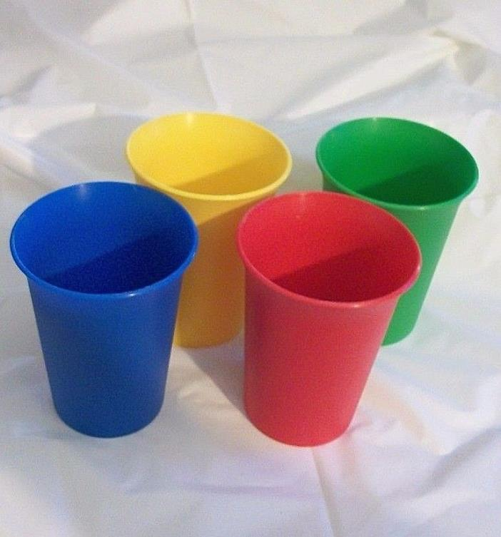 Set Of 4 Vintage Tupperware Child Bell Tumblers Primary Colors Brand NEW