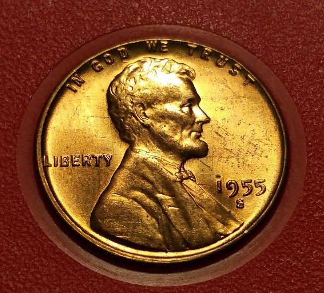 1955 S LINCOLN WHEAT PENNY #W27017
