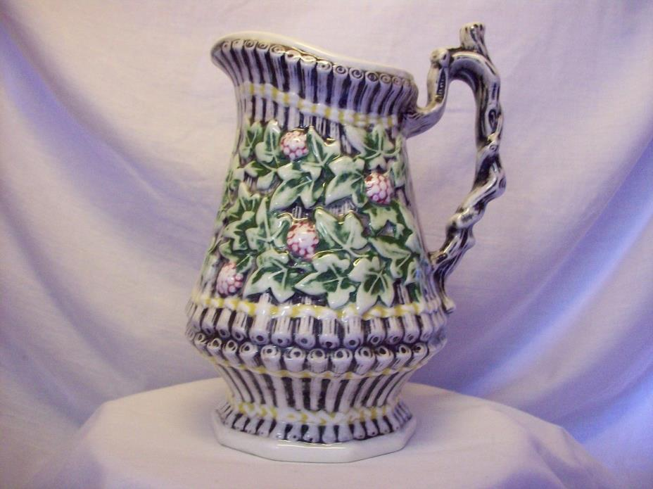 Ceramic Tied Bamboo Raspberry Motif Pitcher with Vine Handle