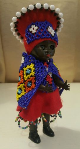 Vtg Celluloid Plastic African American Carnival Beaded Princess Queen RARE 7