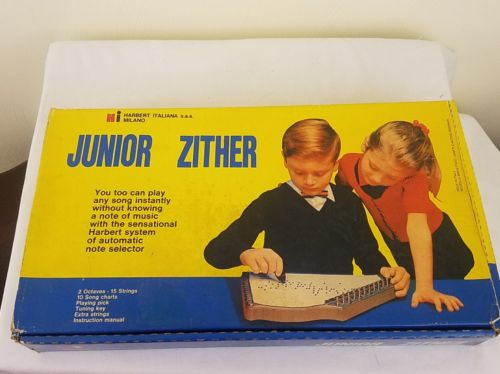 Harbert Jr. Zither Cetra Concerto Vintage Musical Instrument Made in Italy metal