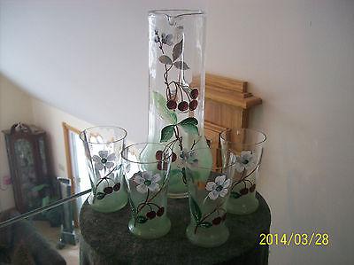 Pitcher & Glass Set Vintage Enamel Cherry & Blossom Paneled Pattern