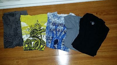 Lot of 5 mens graphic t-shirts, size med and one small, retrofit, xtreme culture