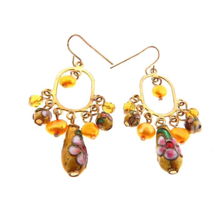 Vintage Cloisonne Pearl Dangle Earrings
