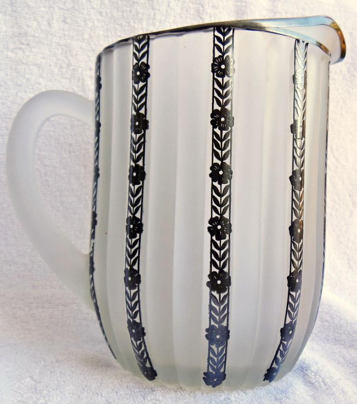 Antique Art Nouveau Floral Silver Overlay Satin Frosted Glass Ribbed Pitcher