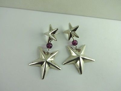 Sterling Silver Taxco Mexico TL-81 Big Bold Star Amethyst  Earring 26.6 Grams