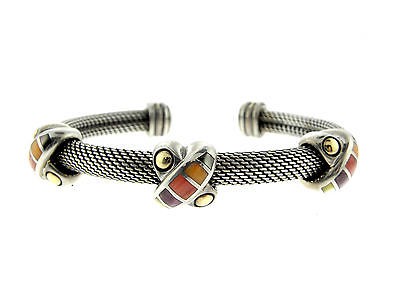 Asch Grossbardt Sterling Silver 18K Gold Multi-Stone Inlay Xs Flexible Bracelet